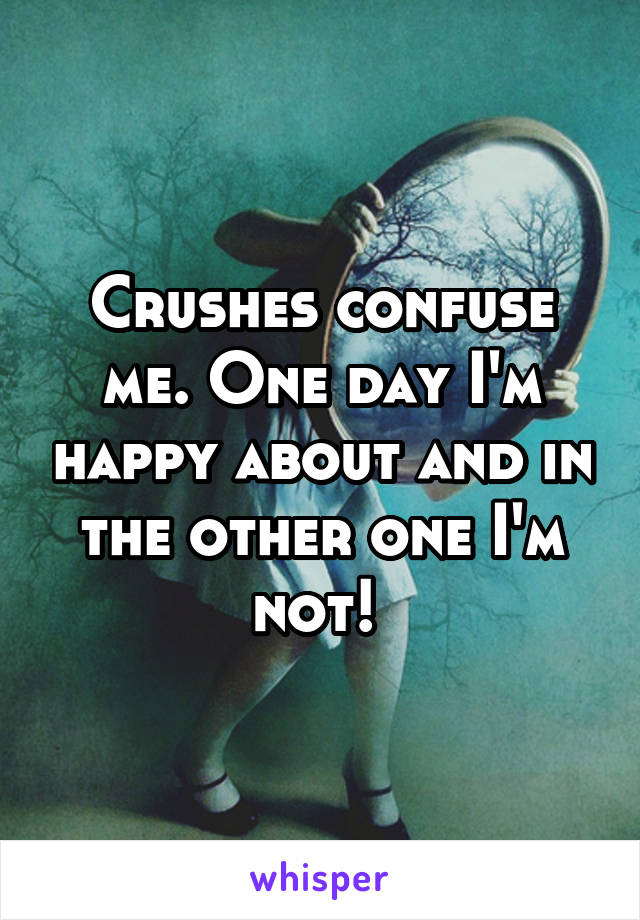 Crushes confuse me. One day I'm happy about and in the other one I'm not!