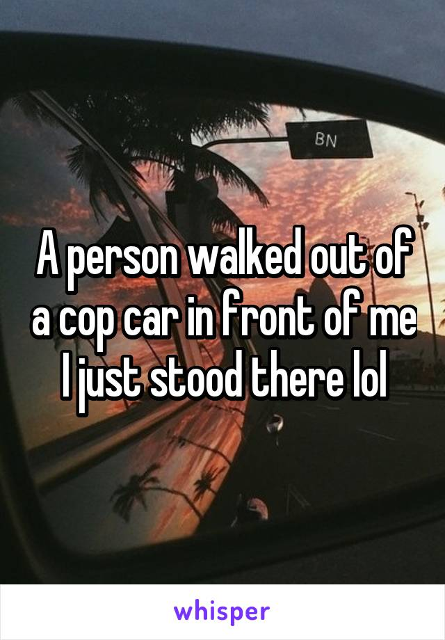 A person walked out of a cop car in front of me I just stood there lol