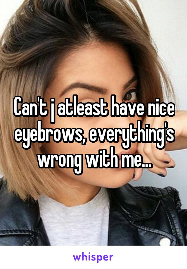 Can't j atleast have nice eyebrows, everything's wrong with me...