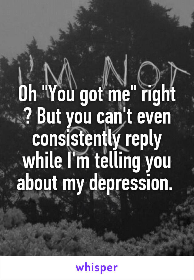 "Oh ""You got me"" right ? But you can't even consistently reply while I'm telling you about my depression."