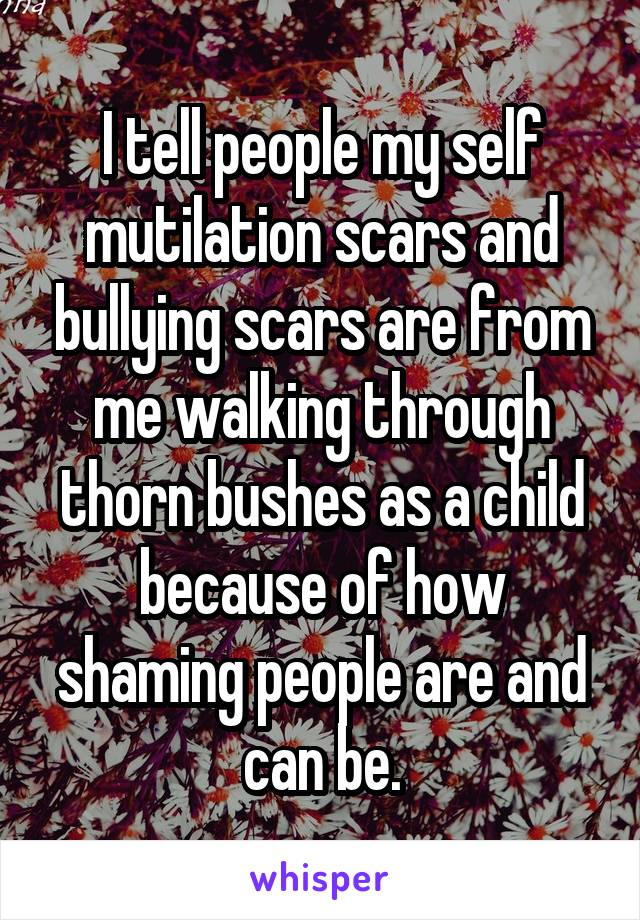 I tell people my self mutilation scars and bullying scars are from me walking through thorn bushes as a child because of how shaming people are and can be.