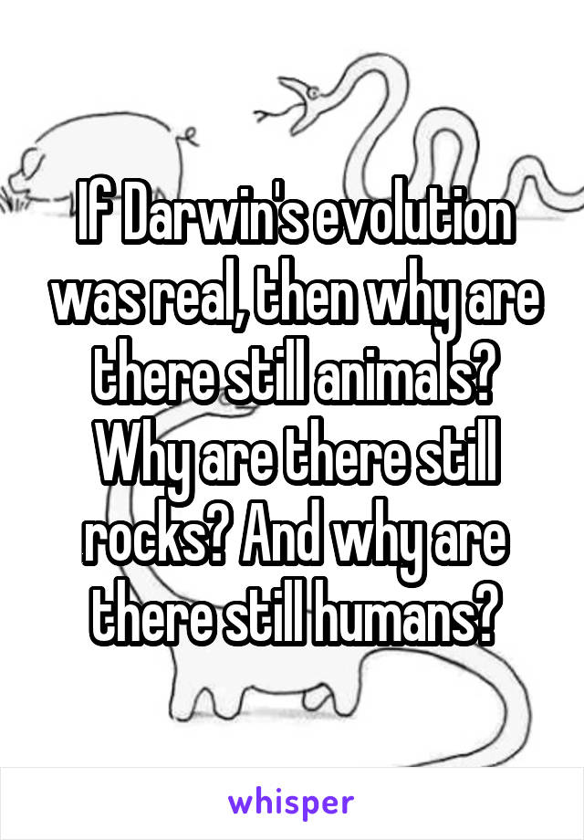 If Darwin's evolution was real, then why are there still animals? Why are there still rocks? And why are there still humans?