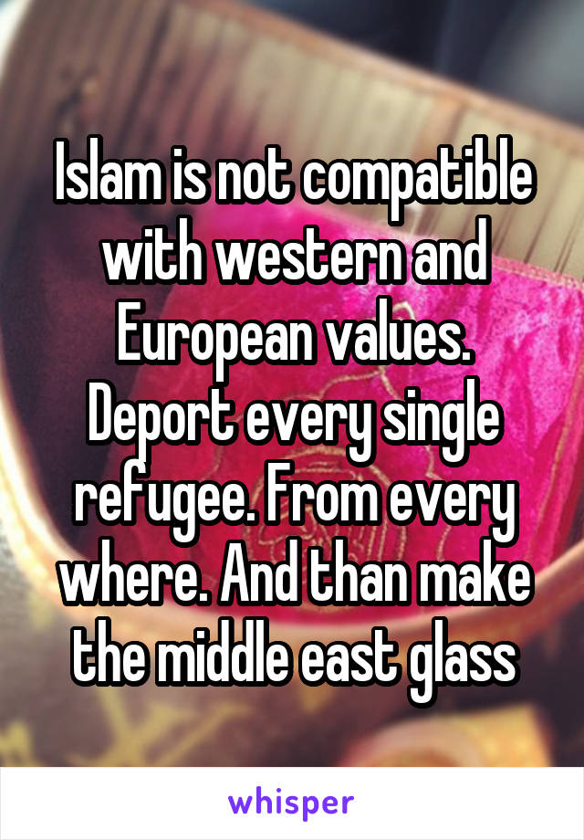 Islam is not compatible with western and European values. Deport every single refugee. From every where. And than make the middle east glass