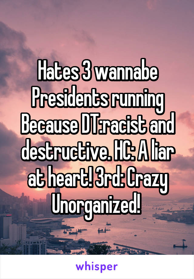 Hates 3 wannabe Presidents running Because DT:racist and destructive. HC: A liar at heart! 3rd: Crazy Unorganized!