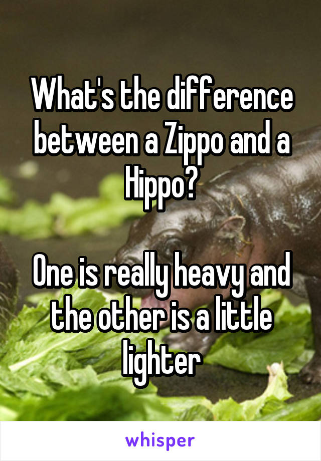 What's the difference between a Zippo and a Hippo?  One is really heavy and the other is a little lighter