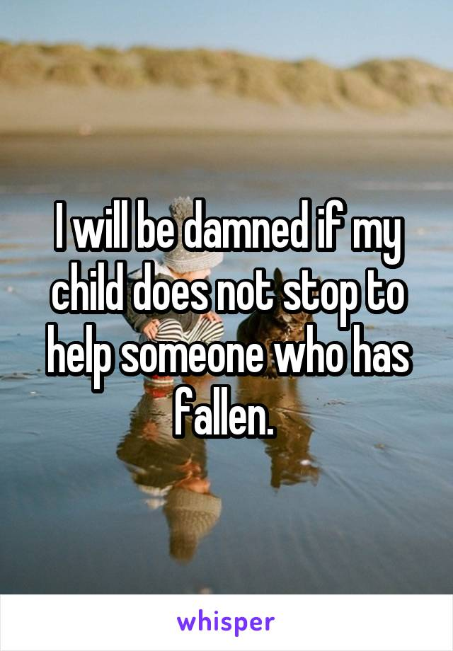 I will be damned if my child does not stop to help someone who has fallen.