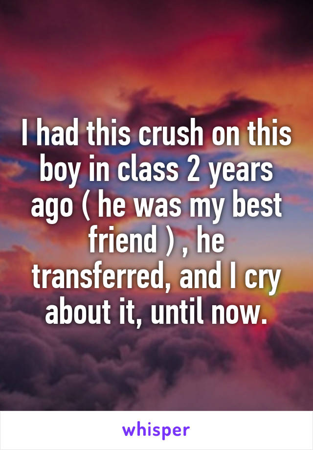 I had this crush on this boy in class 2 years ago ( he was my best friend ) , he transferred, and I cry about it, until now.