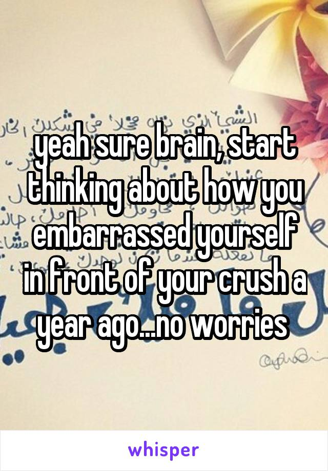 yeah sure brain, start thinking about how you embarrassed yourself in front of your crush a year ago...no worries