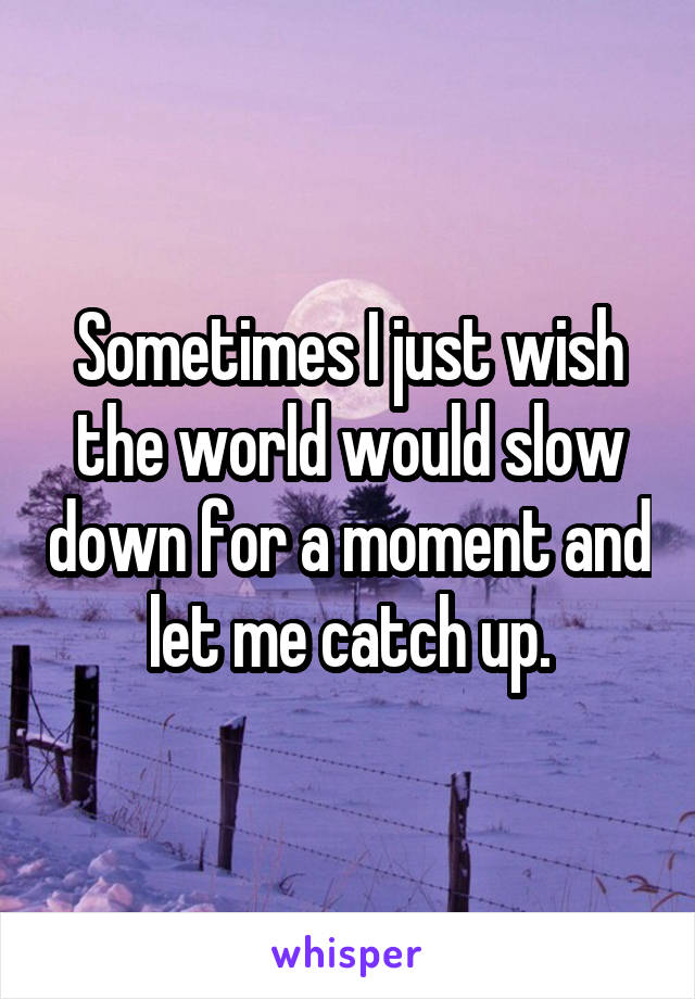 Sometimes I just wish the world would slow down for a moment and let me catch up.