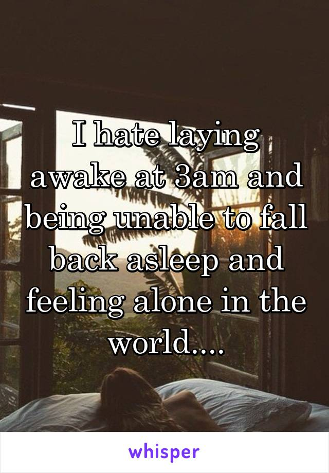 I hate laying awake at 3am and being unable to fall back asleep and feeling alone in the world....