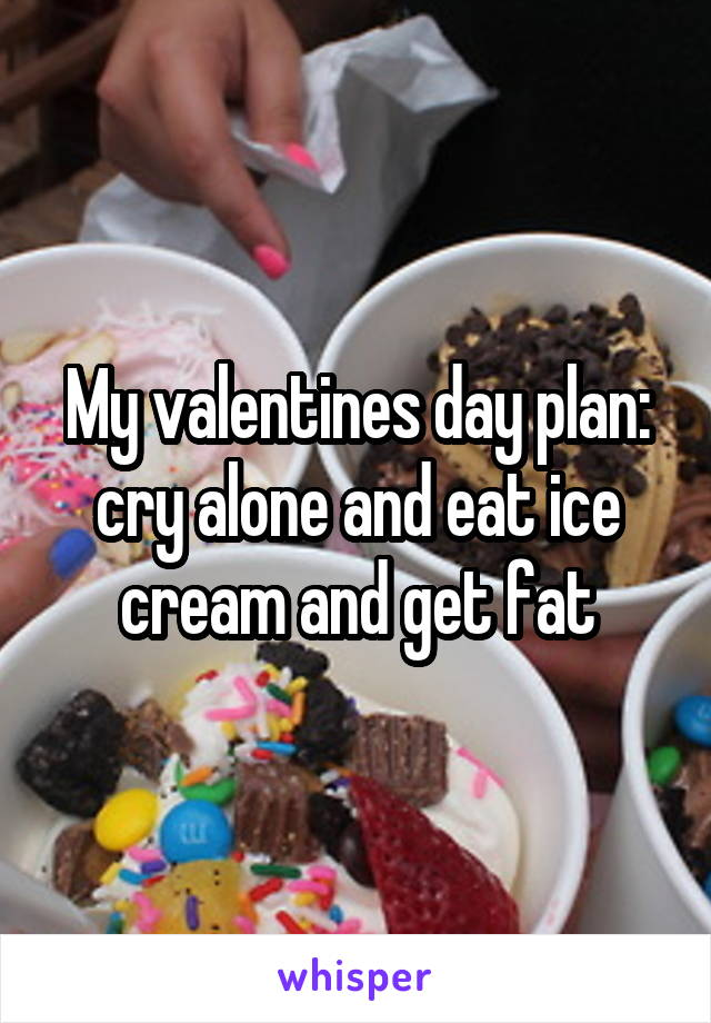 My valentines day plan: cry alone and eat ice cream and get fat