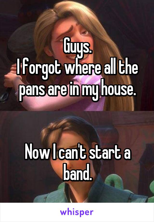 Guys. I forgot where all the pans are in my house.   Now I can't start a band.