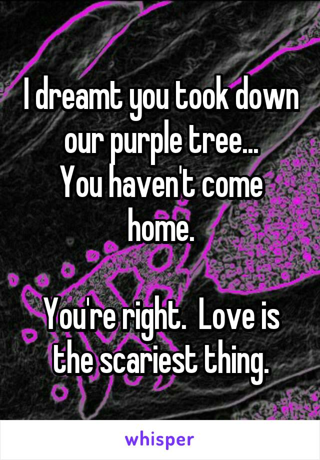 I dreamt you took down our purple tree... You haven't come home.  You're right.  Love is the scariest thing.