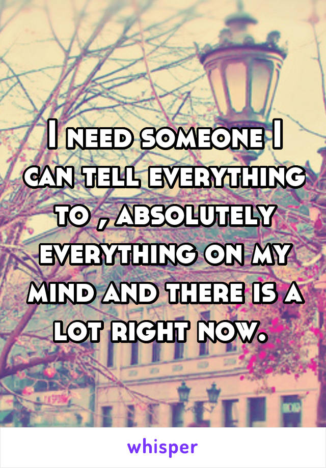 I need someone I can tell everything to , absolutely everything on my mind and there is a lot right now.