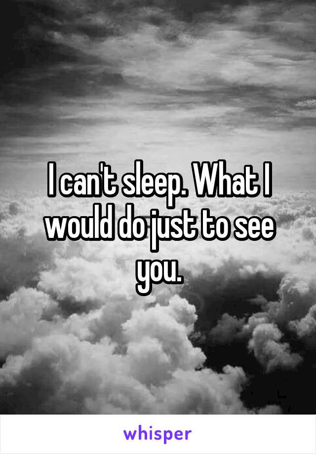 I can't sleep. What I would do just to see you.