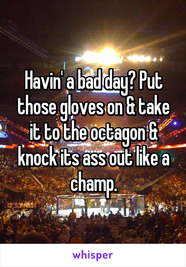 Havin' a bad day? Put those gloves on & take it to the octagon & knock its ass out like a champ.