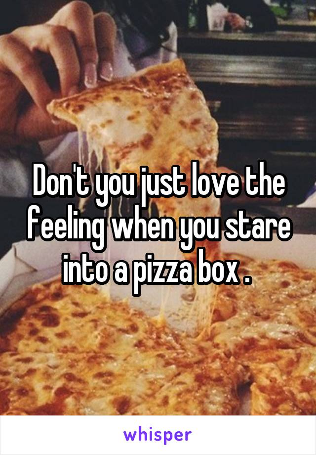 Don't you just love the feeling when you stare into a pizza box .
