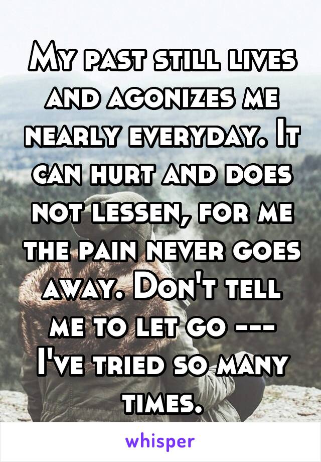My past still lives and agonizes me nearly everyday. It can hurt and does not lessen, for me the pain never goes away. Don't tell me to let go --- I've tried so many times.