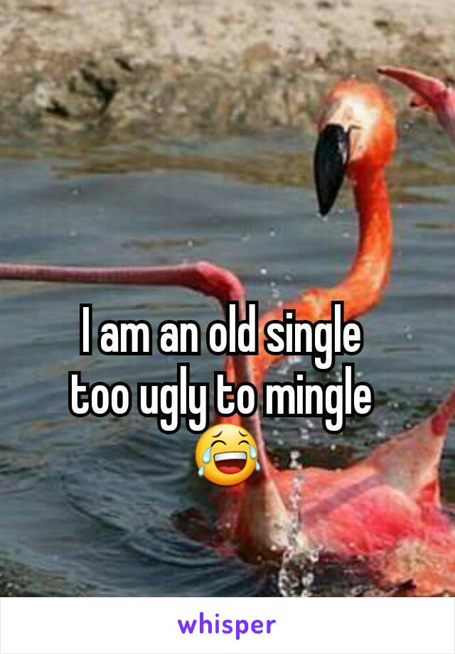 I am an old single   too ugly to mingle  😂