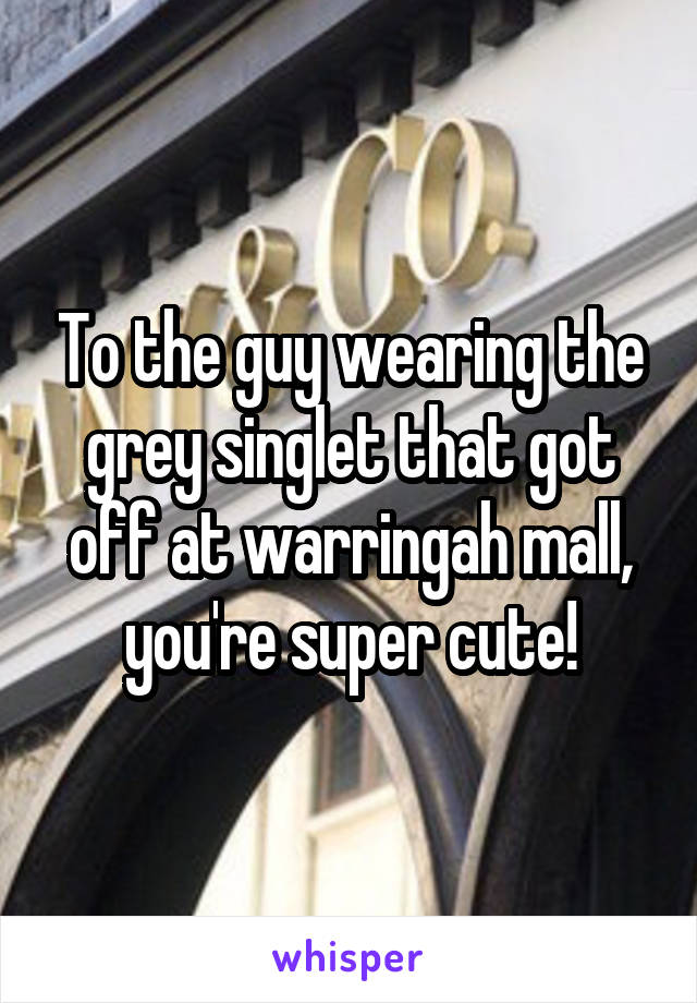 To the guy wearing the grey singlet that got off at warringah mall, you're super cute!
