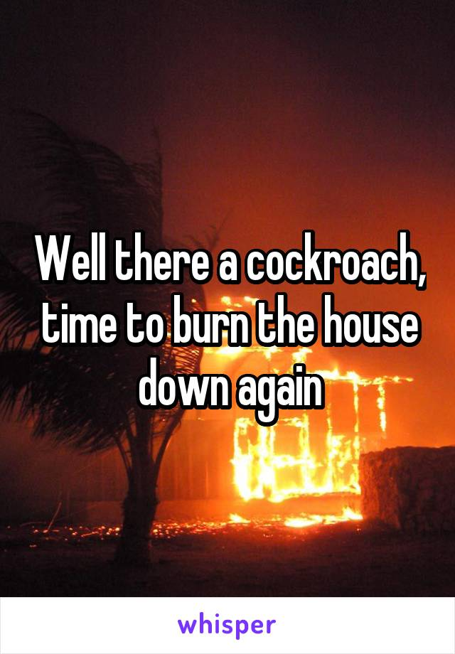 Well there a cockroach, time to burn the house down again