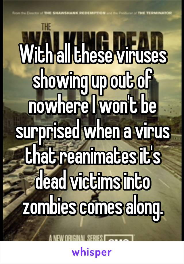 With all these viruses showing up out of nowhere I won't be surprised when a virus that reanimates it's dead victims into zombies comes along.