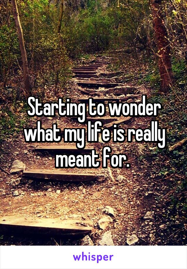 Starting to wonder what my life is really meant for.