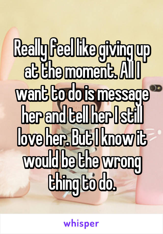 Really feel like giving up at the moment. All I want to do is message her and tell her I still love her. But I know it would be the wrong thing to do.