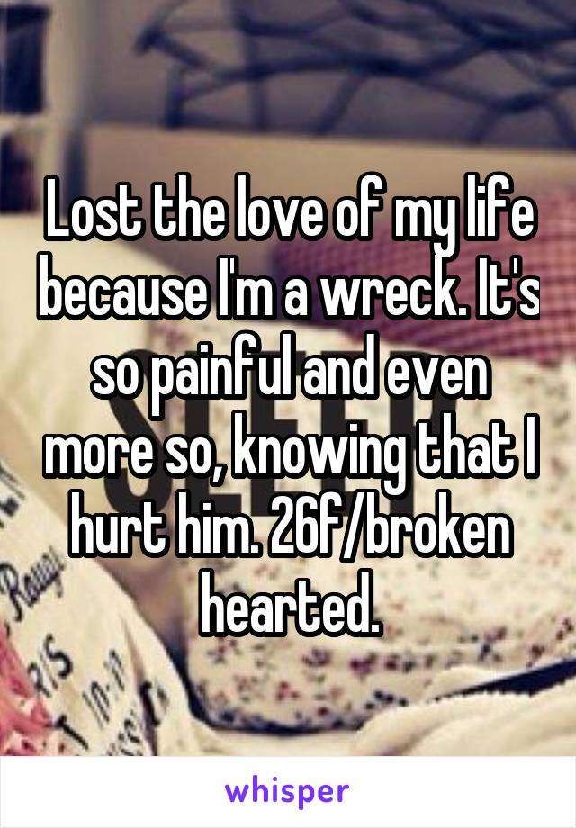 Lost the love of my life because I'm a wreck. It's so painful and even more so, knowing that I hurt him. 26f/broken hearted.