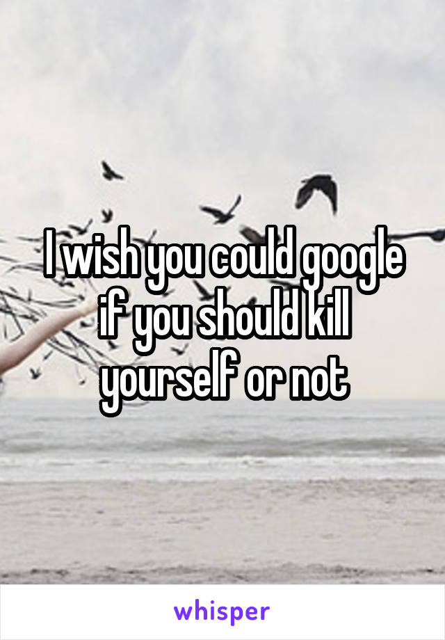 I wish you could google if you should kill yourself or not