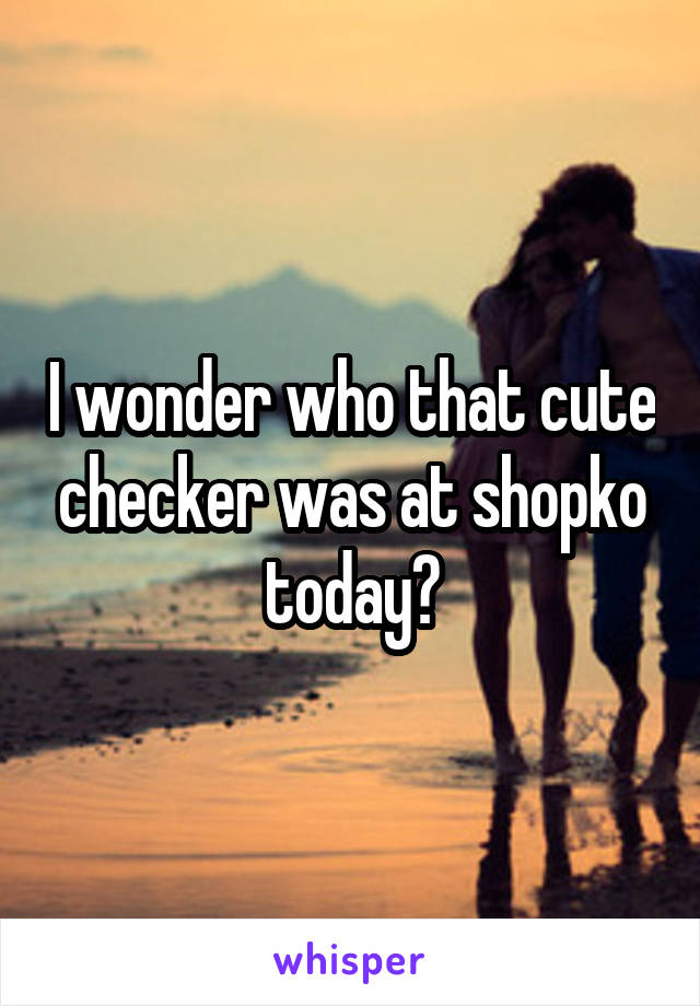 I wonder who that cute checker was at shopko today?