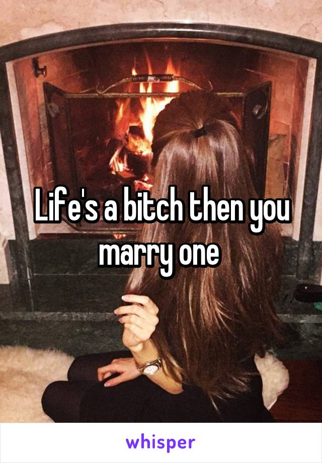 Life's a bitch then you marry one