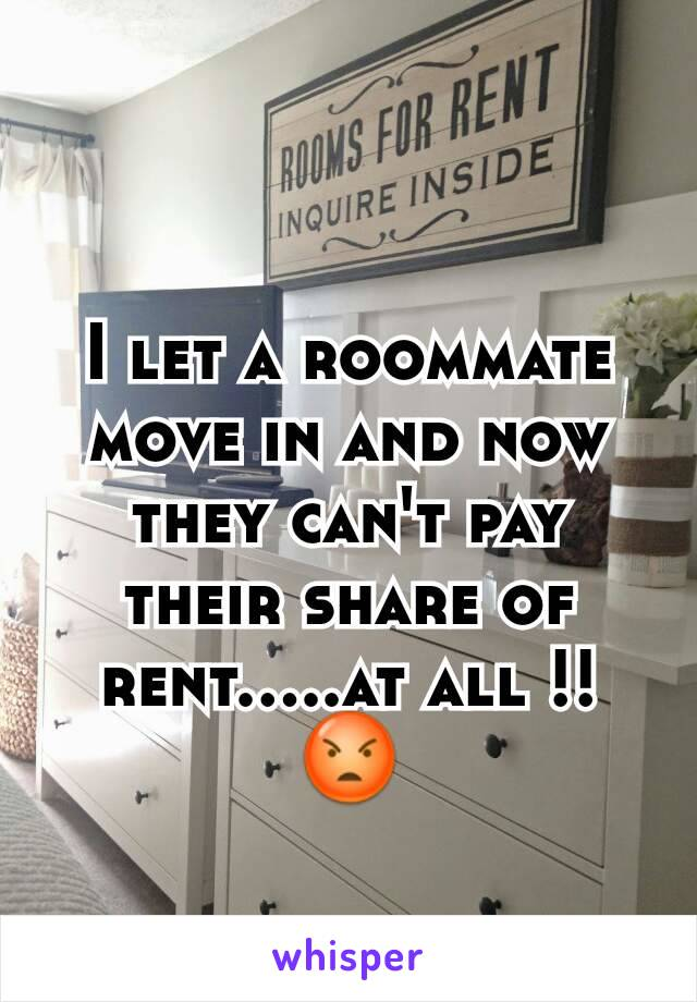 I let a roommate move in and now they can't pay their share of rent.....at all !! 😡