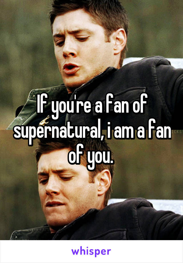 If you're a fan of supernatural, i am a fan of you.