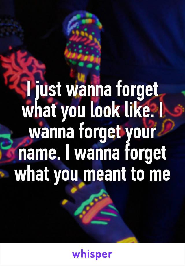 I just wanna forget what you look like. I wanna forget your name. I wanna forget what you meant to me