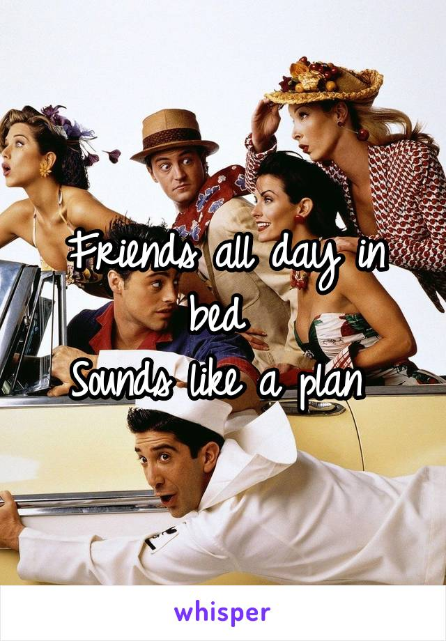 Friends all day in bed  Sounds like a plan