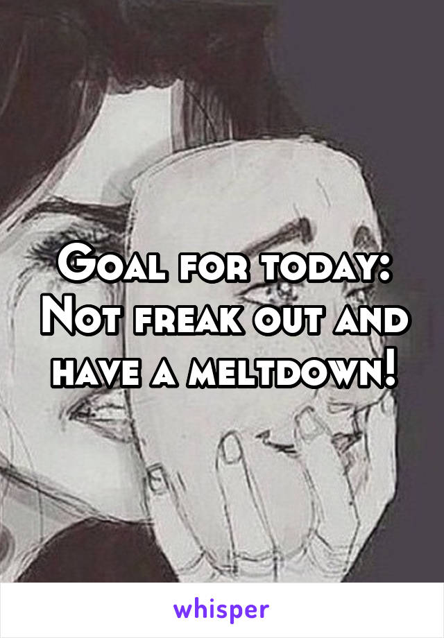 Goal for today: Not freak out and have a meltdown!