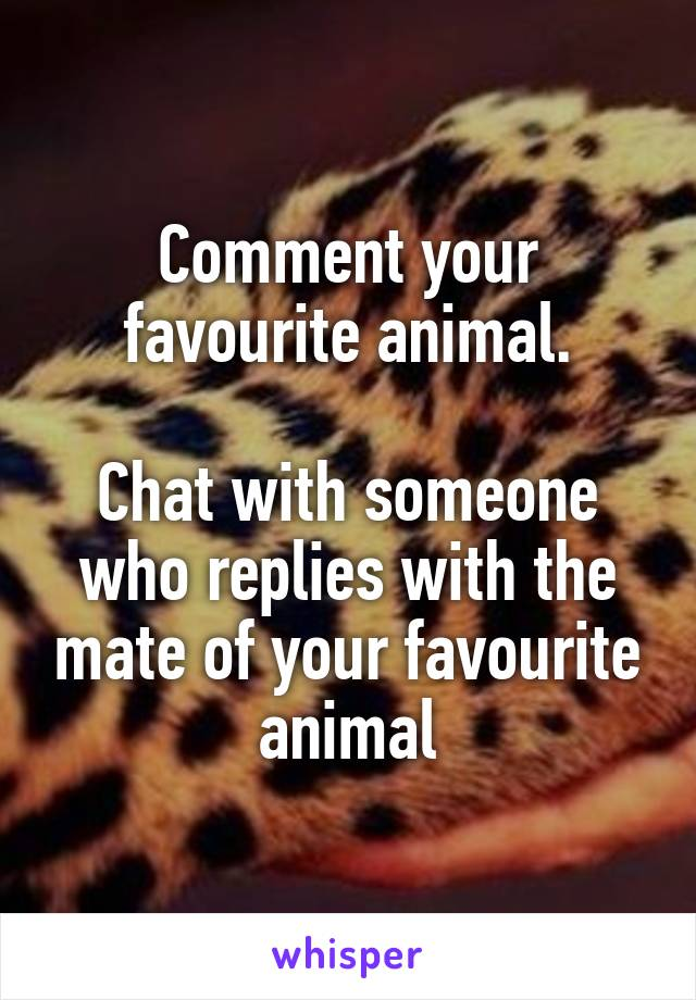 Comment your favourite animal.  Chat with someone who replies with the mate of your favourite animal