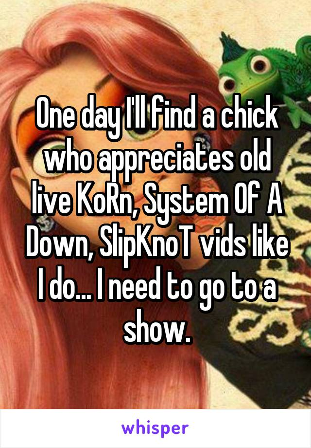 One day I'll find a chick who appreciates old live KoRn, System Of A Down, SlipKnoT vids like I do... I need to go to a show.
