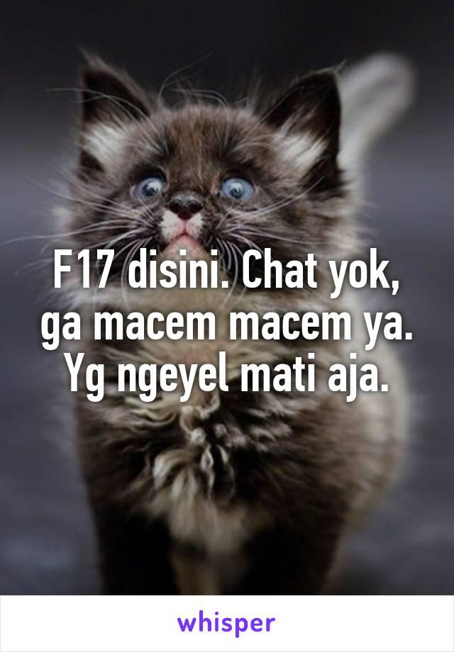 F17 disini. Chat yok, ga macem macem ya. Yg ngeyel mati aja.