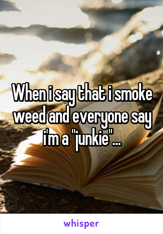 "When i say that i smoke weed and everyone say i'm a ""junkie""..."