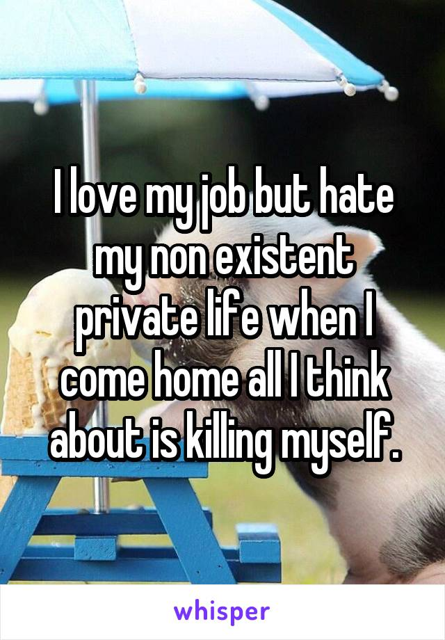 I love my job but hate my non existent private life when I come home all I think about is killing myself.