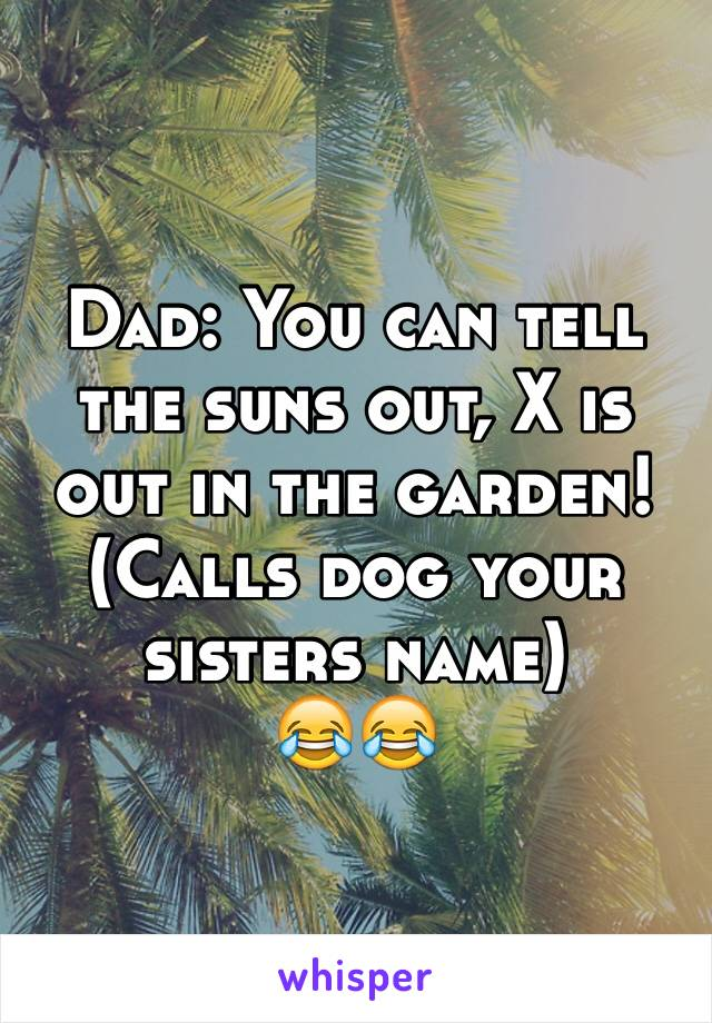 Dad: You can tell the suns out, X is out in the garden!  (Calls dog your sisters name) 😂😂