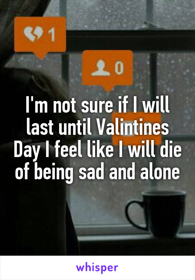 I'm not sure if I will last until Valintines Day I feel like I will die of being sad and alone
