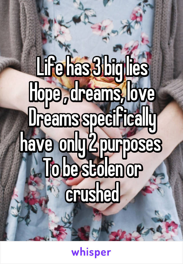 Life has 3 big lies Hope , dreams, love Dreams specifically have  only 2 purposes  To be stolen or crushed