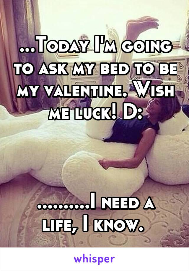 ...Today I'm going to ask my bed to be my valentine. Wish me luck! D:    ..........I need a life, I know.