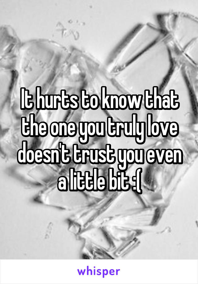 It hurts to know that the one you truly love doesn't trust you even a little bit :(