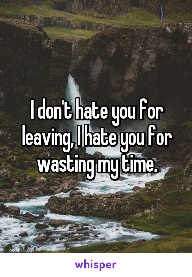 I don't hate you for leaving, I hate you for wasting my time.