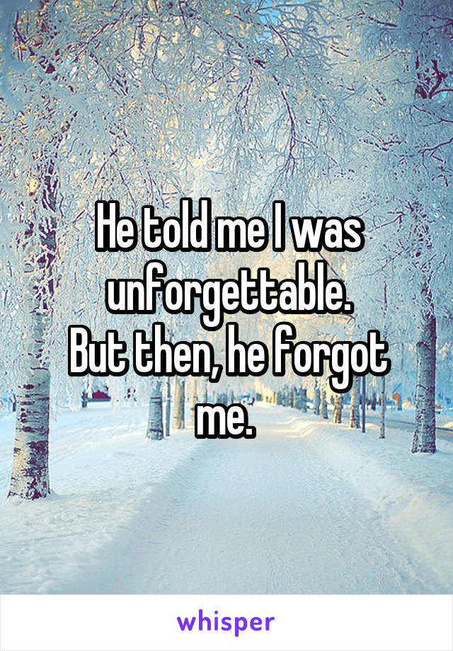 He told me I was unforgettable. But then, he forgot me.