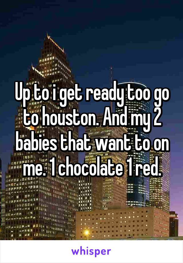 Up to i get ready too go to houston. And my 2 babies that want to on me. 1 chocolate 1 red.